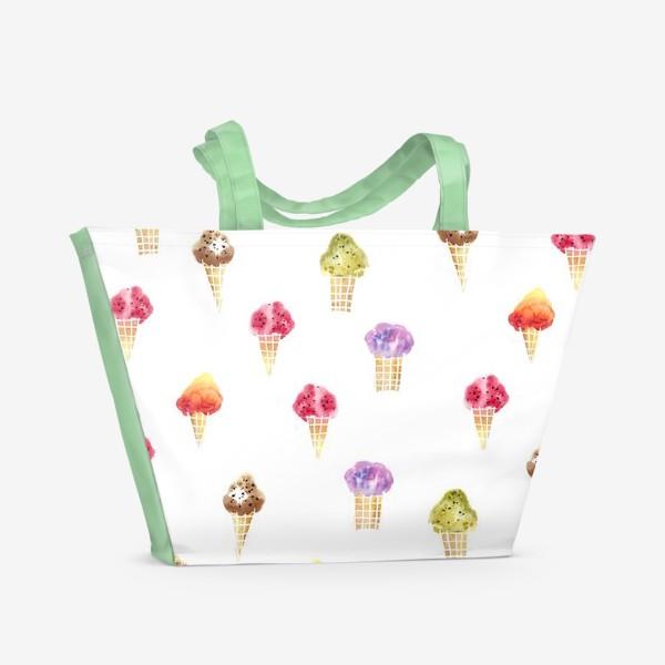 Пляжная сумка «Мороженое Акварель»