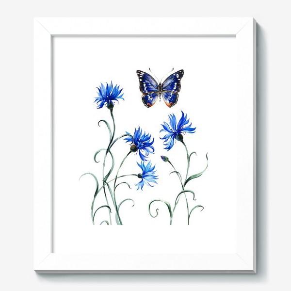 Картина «Васильки и бабочка»