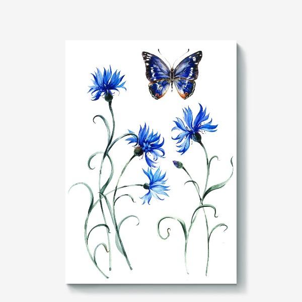 Холст «Васильки и бабочка»