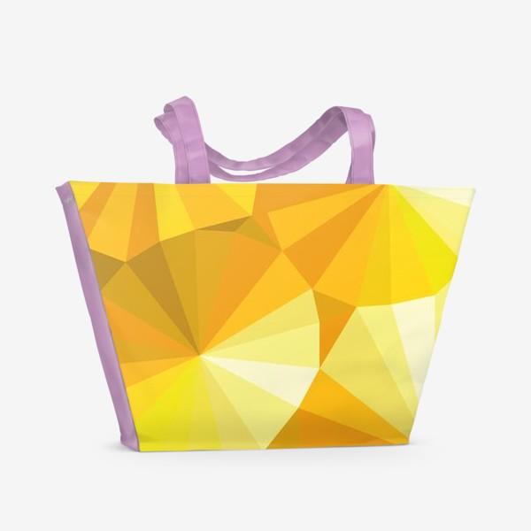 Пляжная сумка «Солнечные зонты в стиле Low poly»