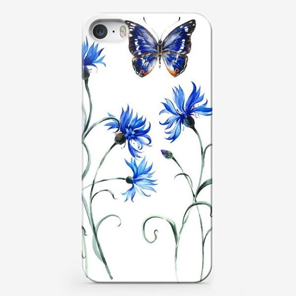 Чехол iPhone «Васильки и бабочка»