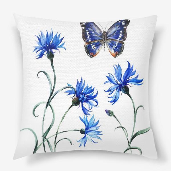 Подушка «Васильки и бабочка»