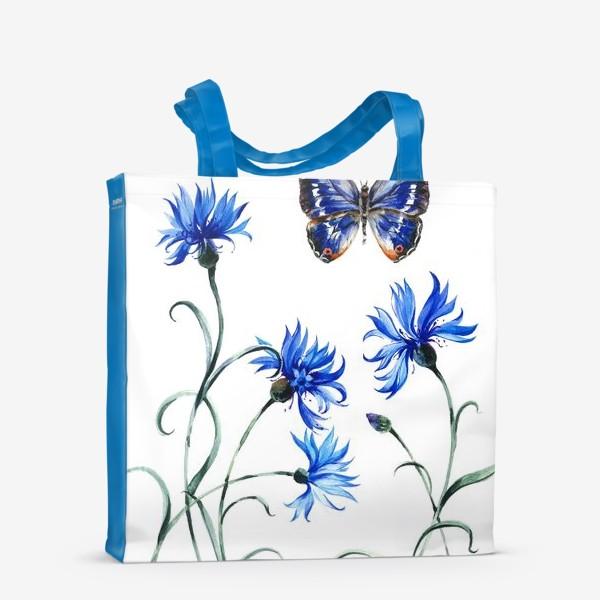 Сумка-шоппер «Васильки и бабочка»