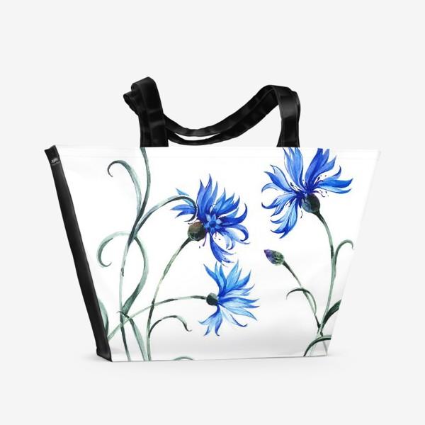 Пляжная сумка «Васильки и бабочка»