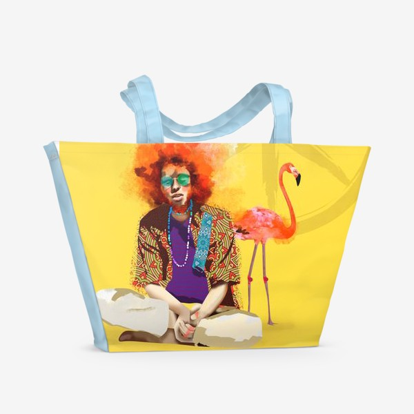 Пляжная сумка «Хиппи и Фламинго»