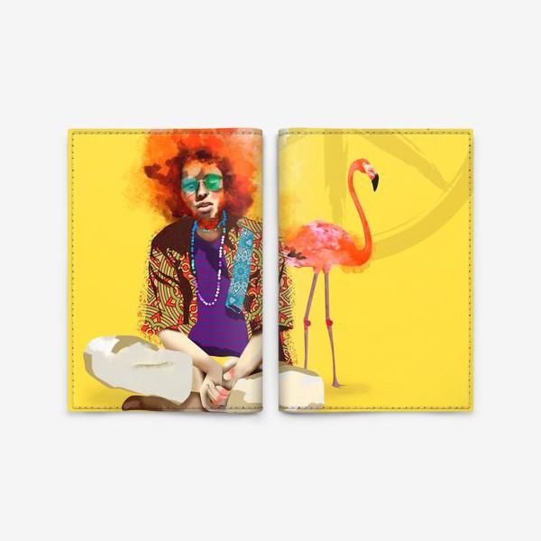 Обложка для паспорта «Хиппи и Фламинго»