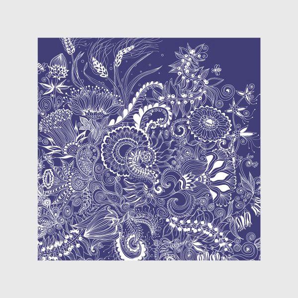 Скатерть «Белые на синем, дудлинг»
