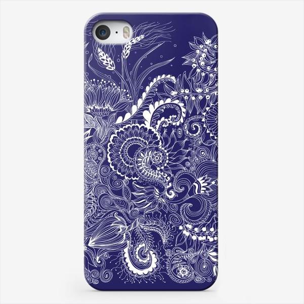 Чехол iPhone «Белые на синем, дудлинг»