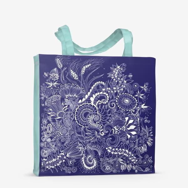 Сумка-шоппер «Белые на синем, дудлинг»