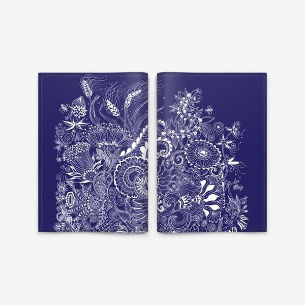 Обложка для паспорта «Белые на синем, дудлинг»