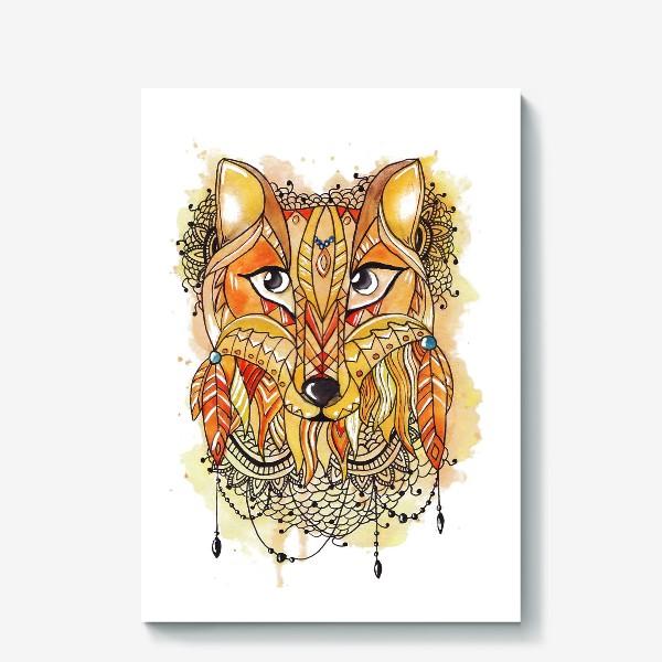 Холст «Акварельная лиса»