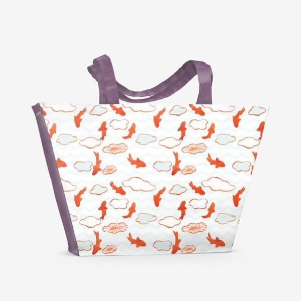 Пляжная сумка «Золотые рыбки среди волн»