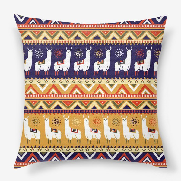 Подушка «Альпаки и геометрия»