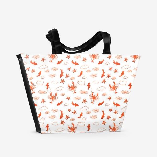 Пляжная сумка «Морское ассорти. Лобстер, золотые рыбки, морские звезды и медузы»