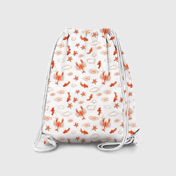 Рюкзак «Морское ассорти. Лобстер, золотые рыбки, морские звезды и медузы»