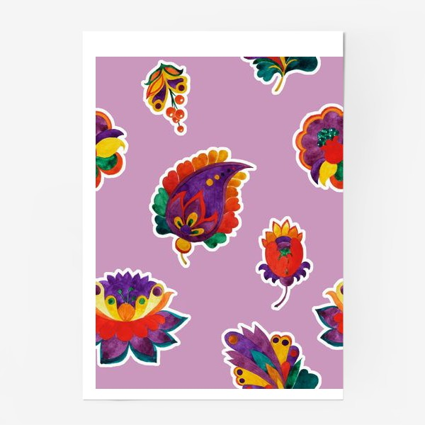 Постер «Яркие фантазийные цветы на нежном сиреневом фоне»