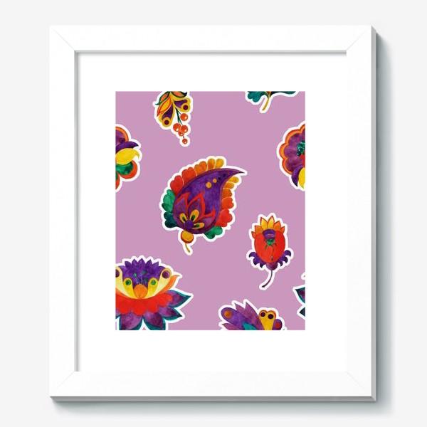 Картина «Яркие фантазийные цветы на нежном сиреневом фоне»