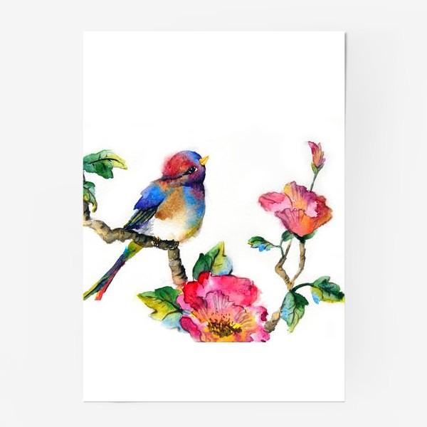 Постер «Птичка на ветке»