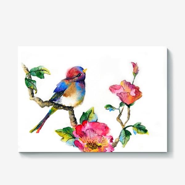 Холст «Птичка на ветке»