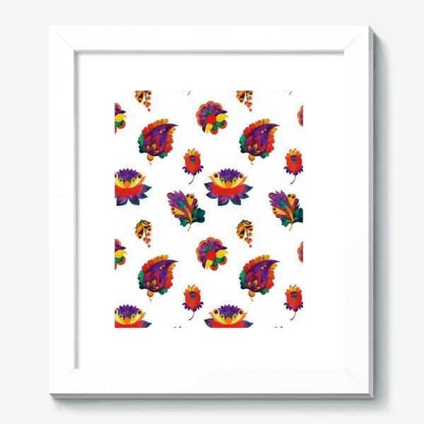Картина «Фантазийные цветы на белом фоне»