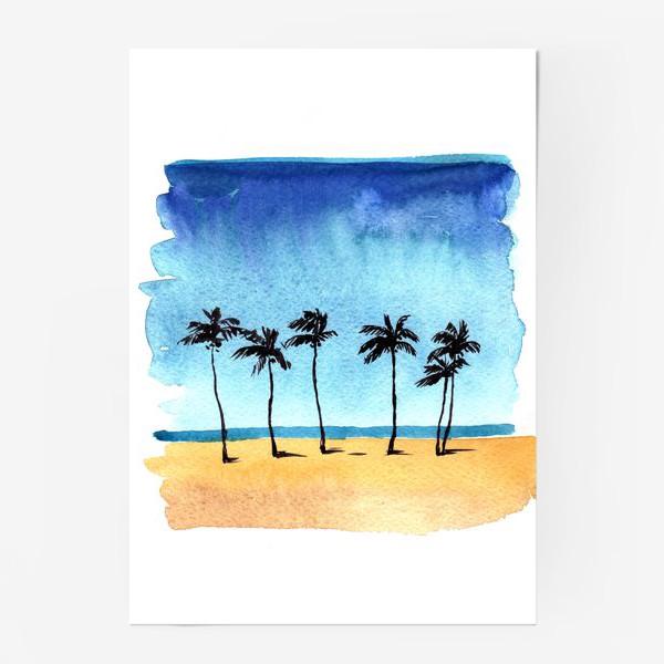 Постер «акварель пляж с пальмами»