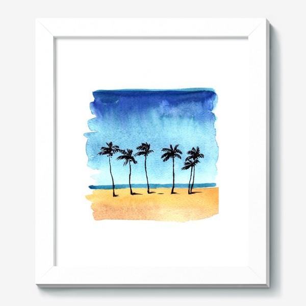 Картина «акварель пляж с пальмами»