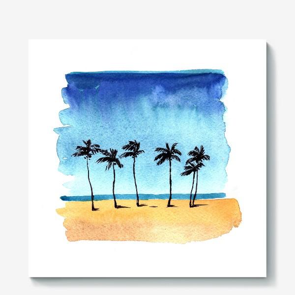Холст «акварель пляж с пальмами»