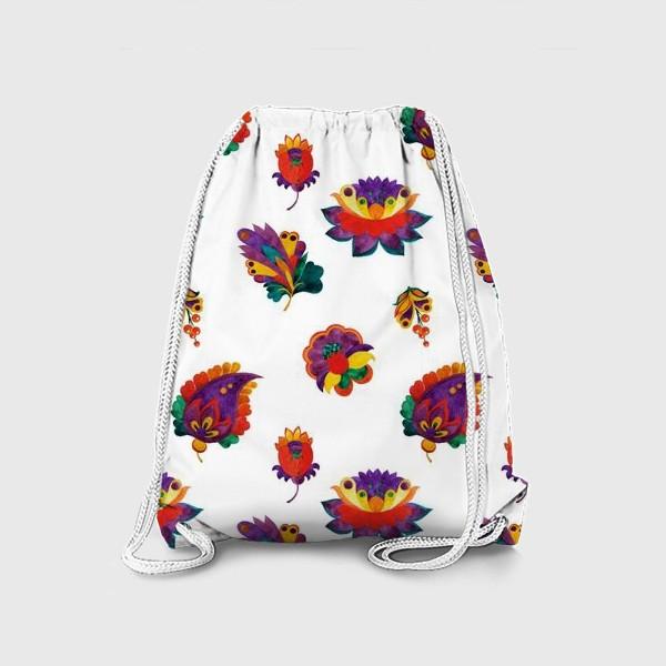 Рюкзак «Фантазийные цветы на белом фоне»