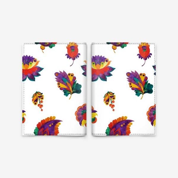 Обложка для паспорта «Фантазийные цветы на белом фоне»