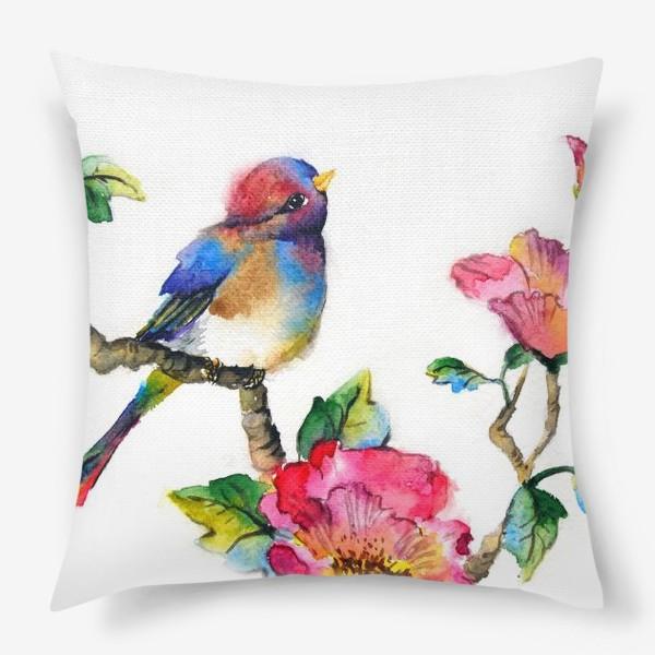 Подушка «Птичка на ветке»