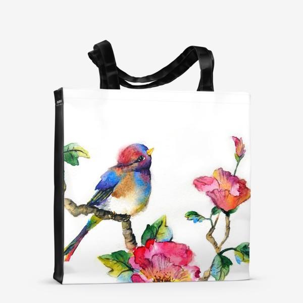 Сумка-шоппер «Птичка на ветке»