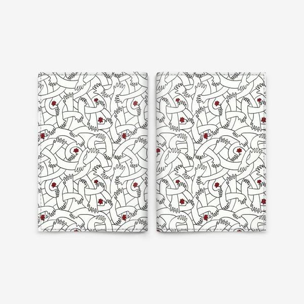 """Обложка для паспорта «Паттерн """"руки, держащие красные цветы"""" »"""