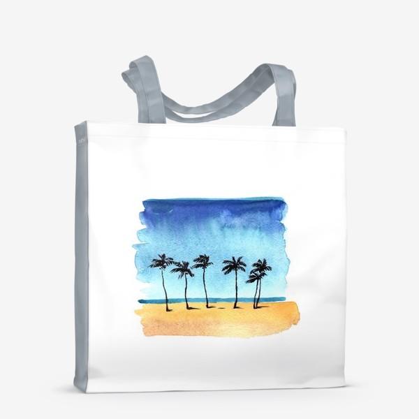 Сумка-шоппер «акварель пляж с пальмами»