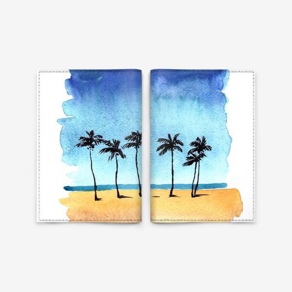 Обложка для паспорта «акварель пляж с пальмами»