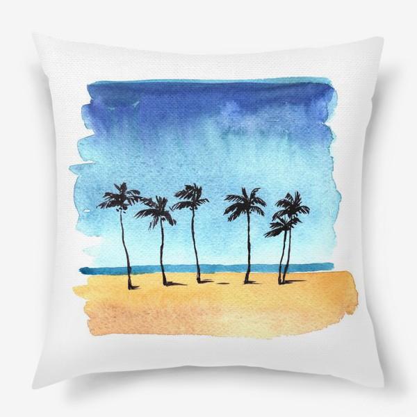 Подушка «акварель пляж с пальмами»
