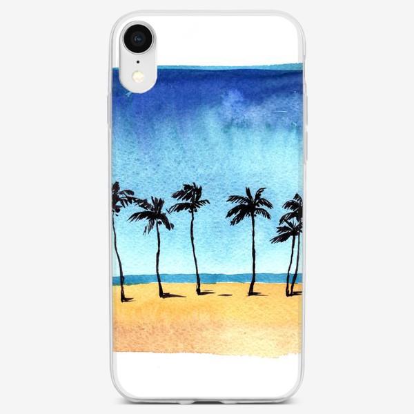 Чехол iPhone «акварель пляж с пальмами»