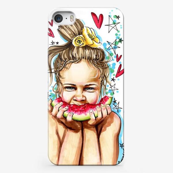 Чехол iPhone «Лето. Девочка. Арбуз.»