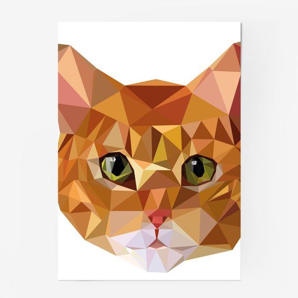 Постер «Рыжий кот в стиле Low Poly»