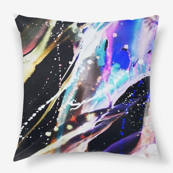 Подушка «Акварельный фон с брызгами краски»