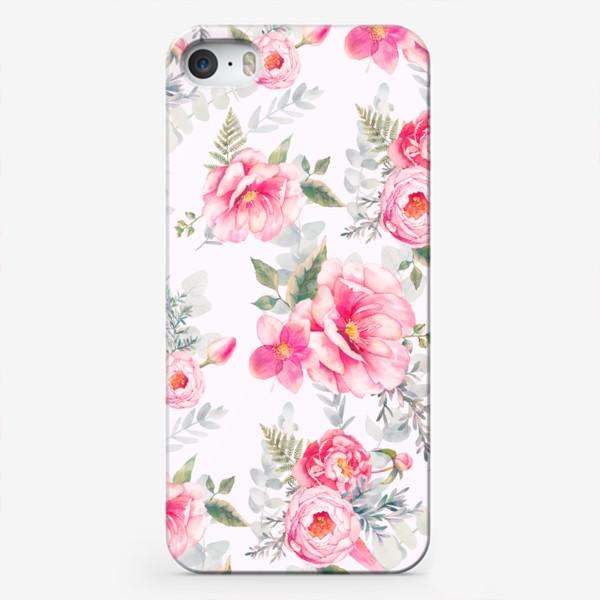 Чехол iPhone «Паттерн с пионами и эвкалиптом»