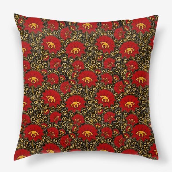 Подушка «Хохлома. Паттерн в русском стиле. Красные пионы»