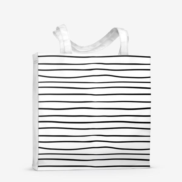 Сумка-шоппер «Черно-белые полоски»