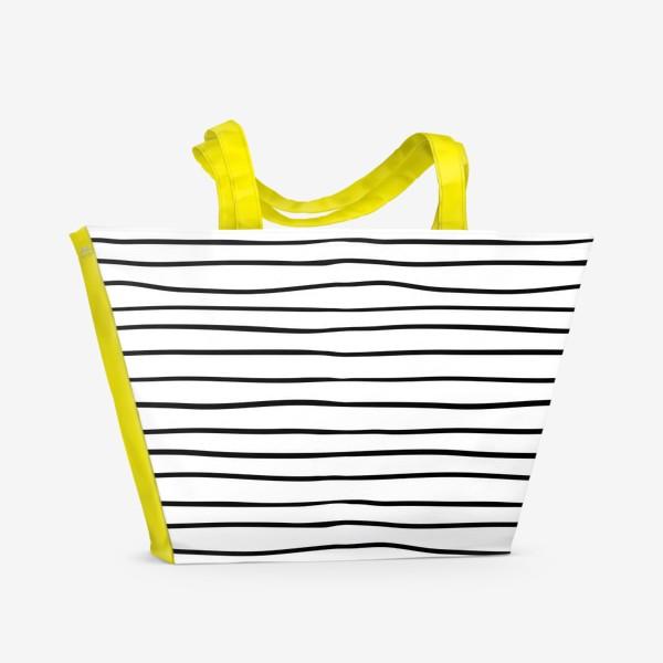 Пляжная сумка «Черно-белые полоски»