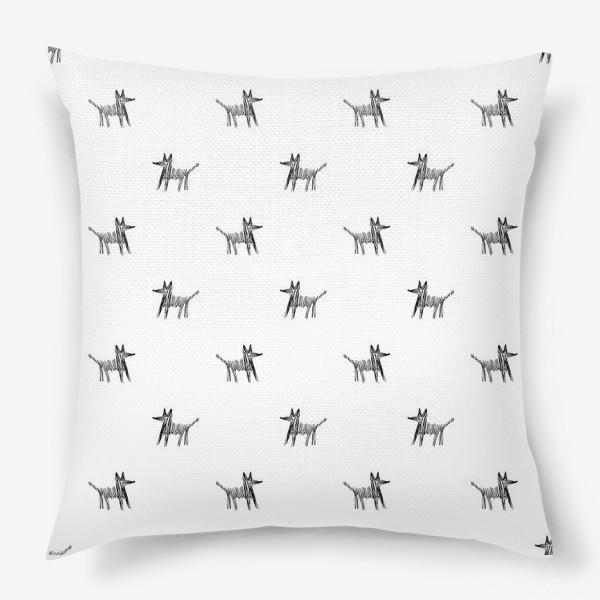Подушка «Паттерн с собаками»