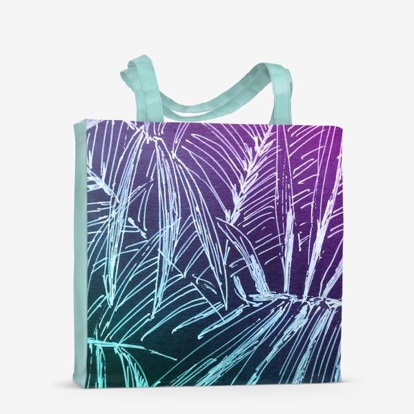 Сумка-шоппер «Пальмы. Мята-карамель»