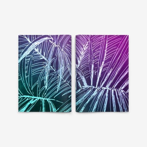 Обложка для паспорта «Пальмы. Мята-карамель»