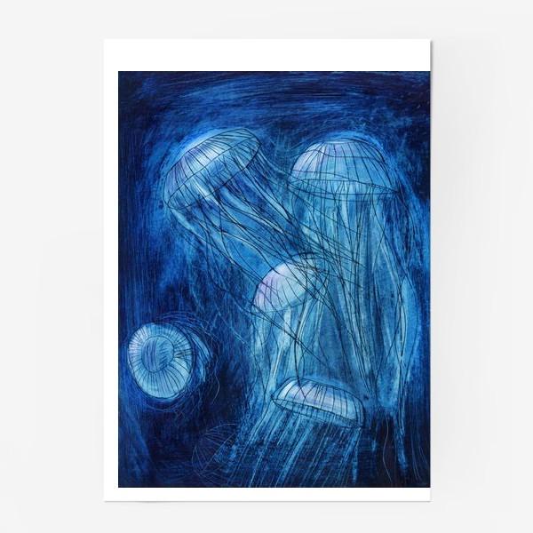 Постер «медузы в море»