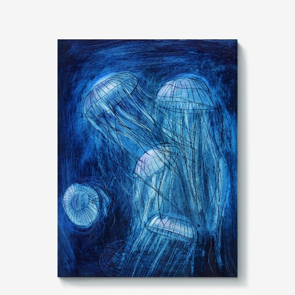 Холст «медузы в море»