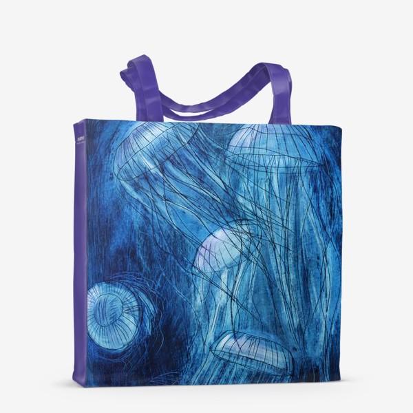 Сумка-шоппер «медузы в море»