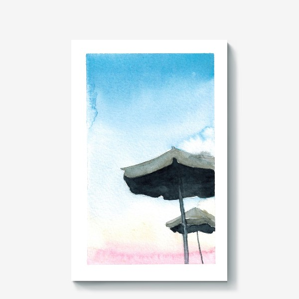 Холст «Зонтики на фоне закатного неба, акварель»